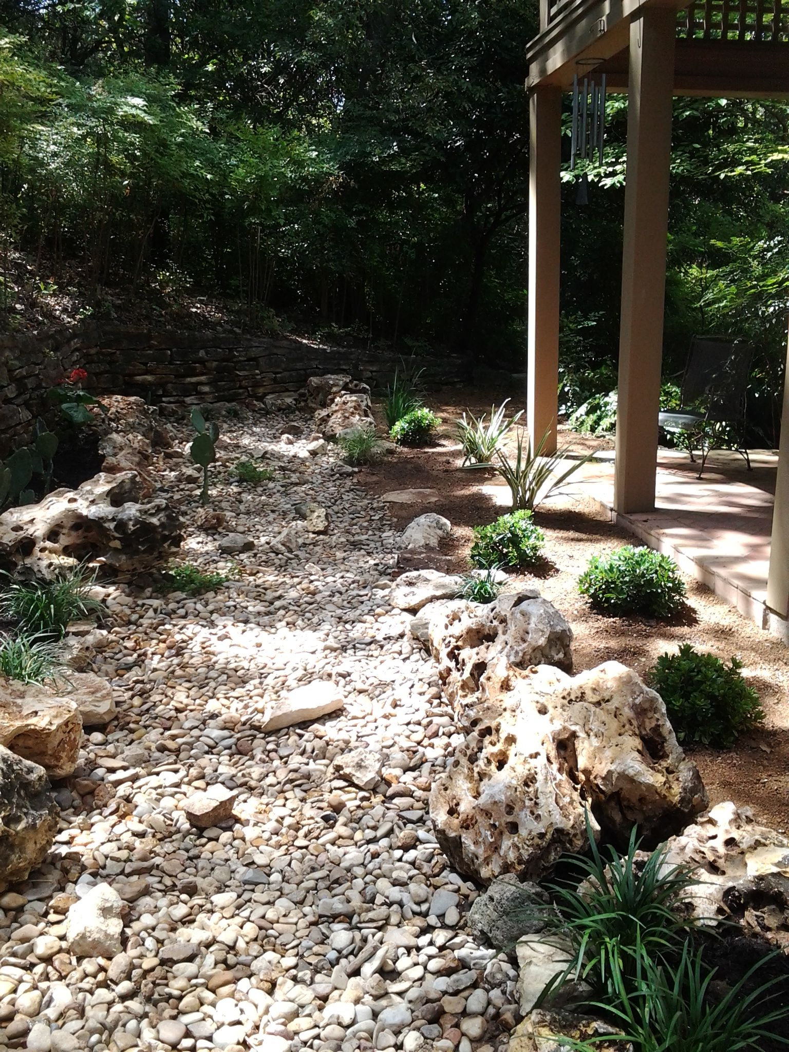 A dry creek bed in Central Austin. This is complete with a