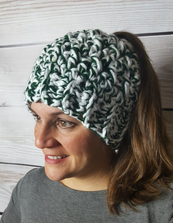 e487577161d Michigan State Messy Bun Hat - MSU Messy Bun Beanie - Michigan State  Ponytail Hat - Bun Hat - Top Kn