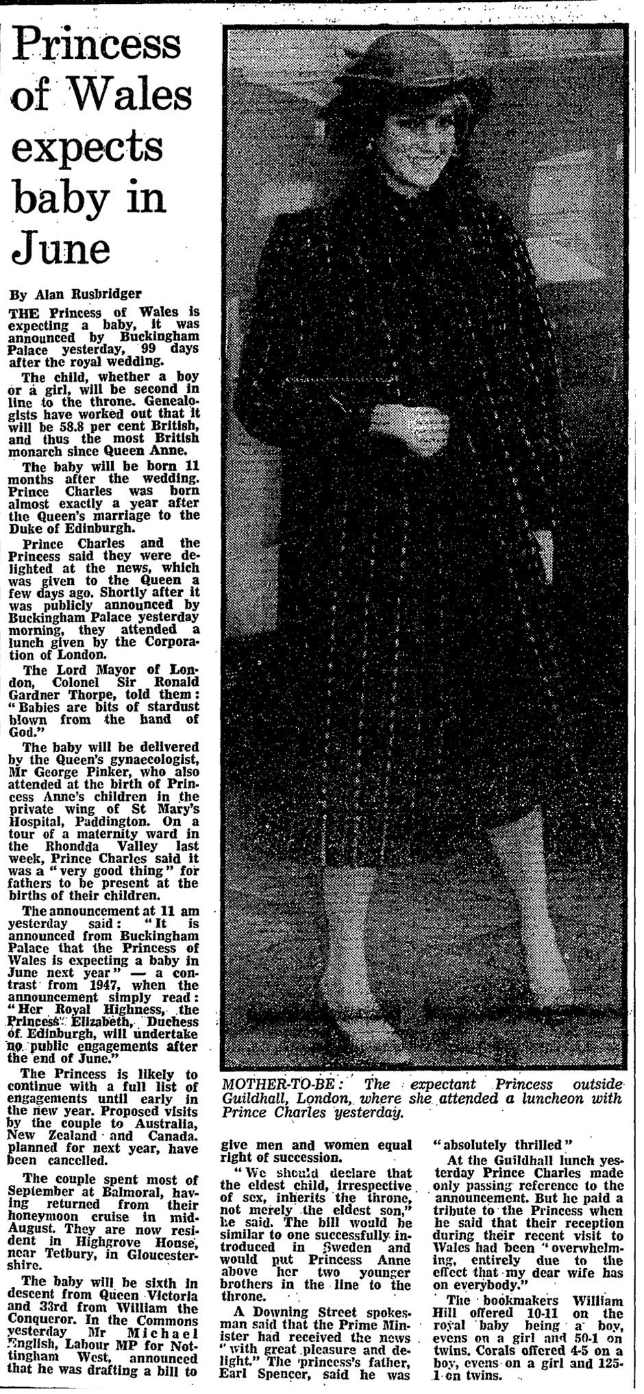 The Guardian's research department send this image of the paper's front page story from 1981 on Princess Diana's pregnancy announcement.
