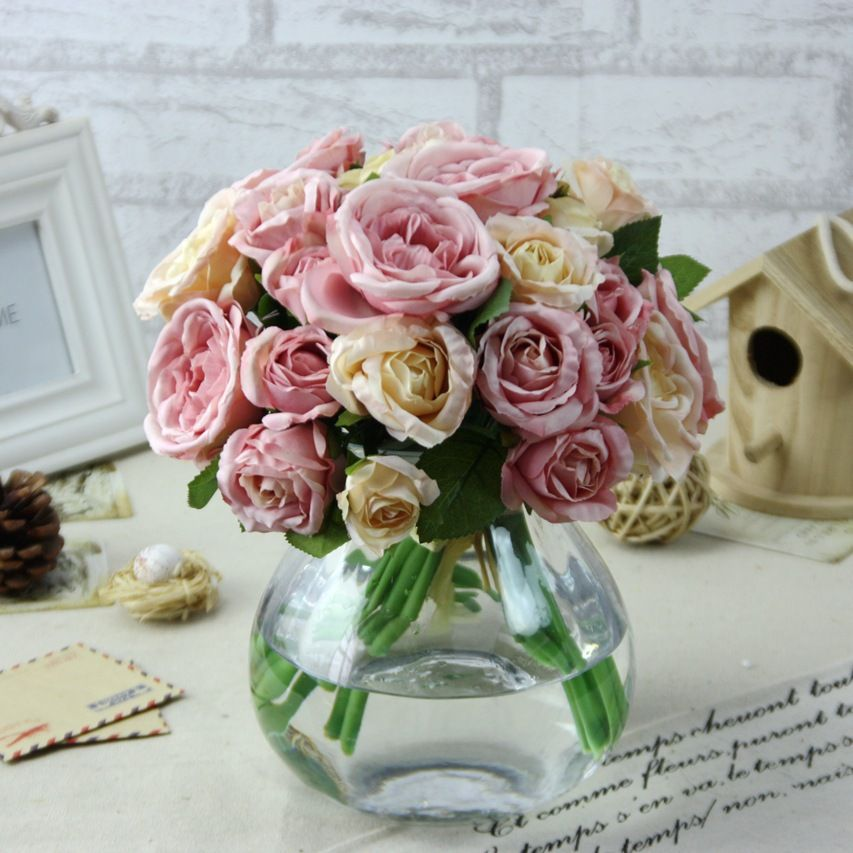 Artificial Rose Peony Silk Flowers Leaf Bouquet Home Floral Wedding Decor Lot US