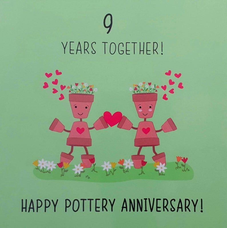 9th Wedding Anniversary Card Pottery Anniversary Etsy Humorous Anniversary Cards Anniversary Wishes For Friends Wedding Anniversary Greeting Cards