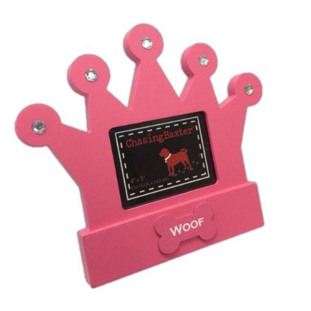 Pink Crown Dog Woof Picture Frame 4 x 3