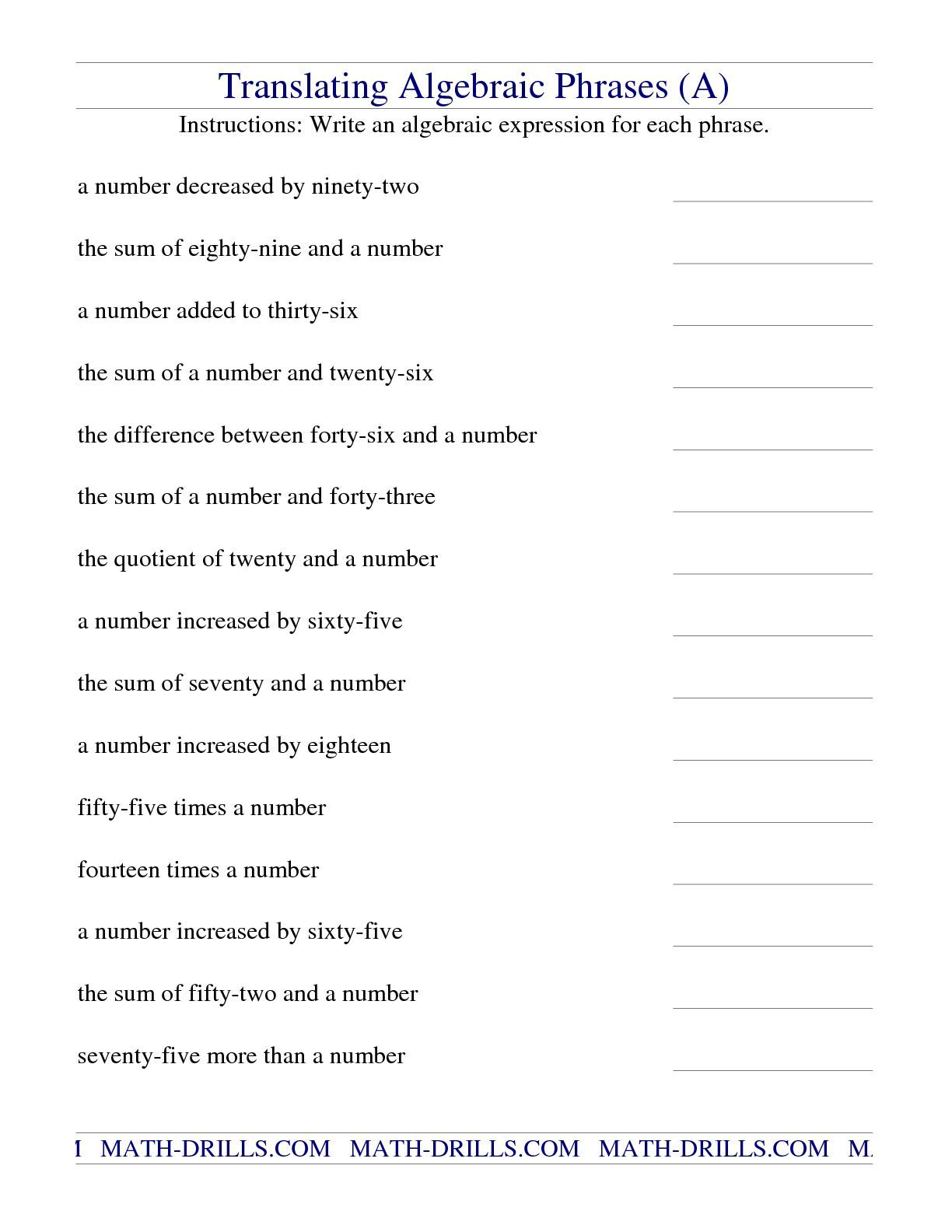The Translating Algebraic Phrases A Math Worksheet From The Algebra Wor Algebraic Expressions Writing Algebraic Expressions Translating Algebraic Expressions