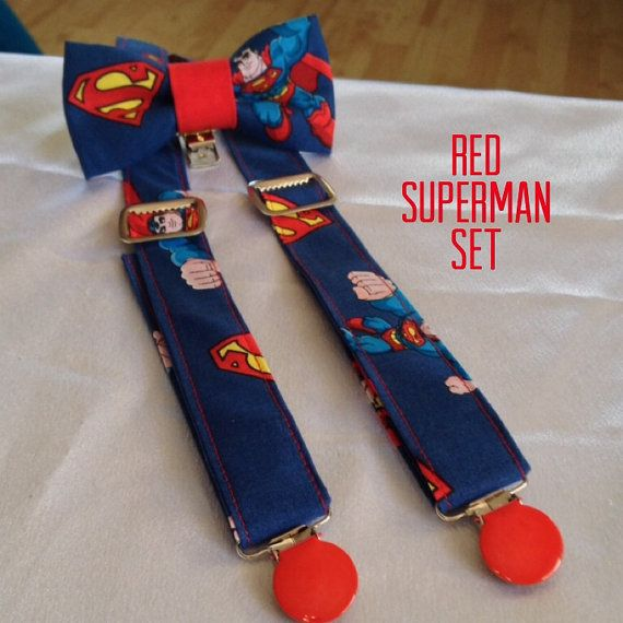 Superman bow tie and suspenders set by Bumpsgigglesandpops