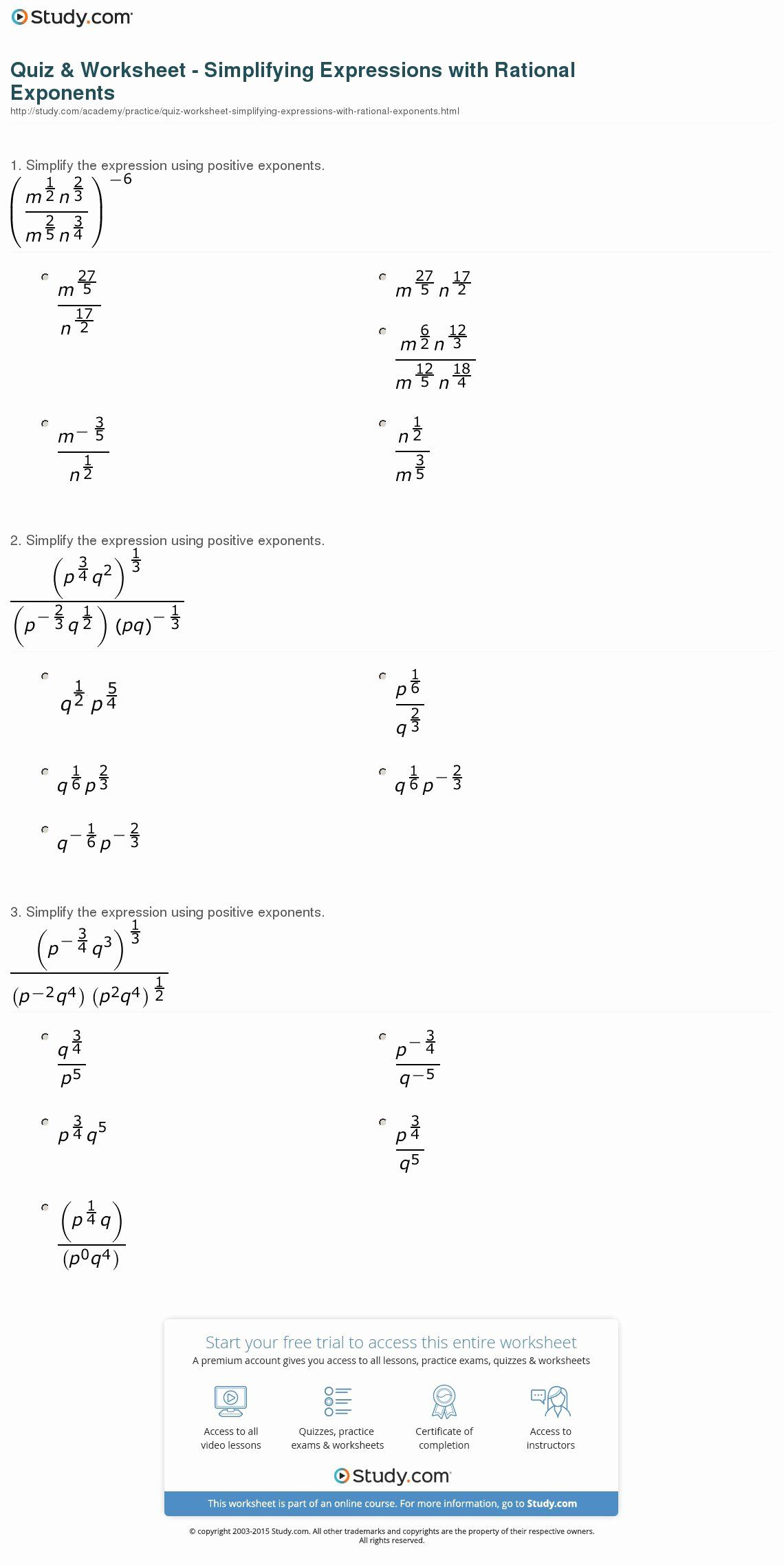 50 Radical And Rational Exponents Worksheet In