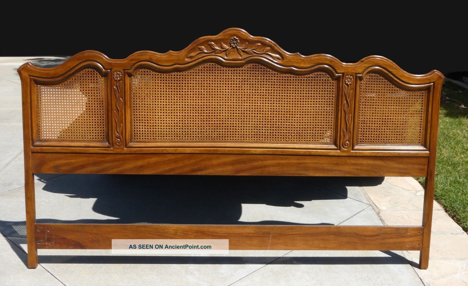 Vintage Drexel Heritage French Provincial Cane King Headboard 46x79 Post 1950 Photo