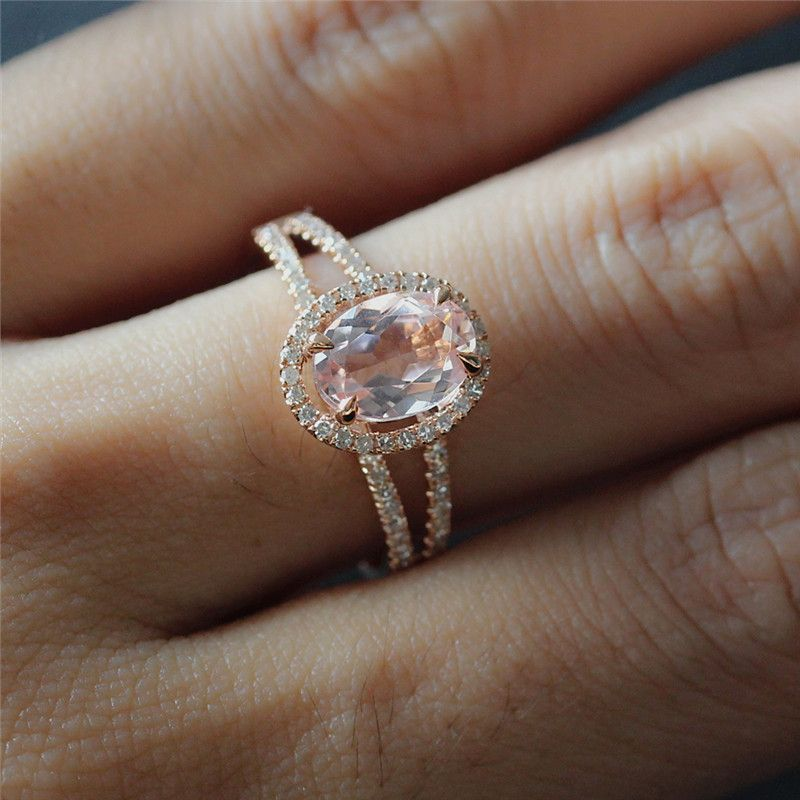 6X8mm Oval Morganite Ring 14K Rose Gold Split Band Diamond Ring Bridal Weddin
