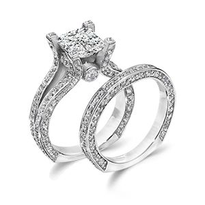 White Gold Cz Wedding Ring Set Featuring A Brilliant Carat Princess Cut Center And Band With Round Pave Stones Of Weight