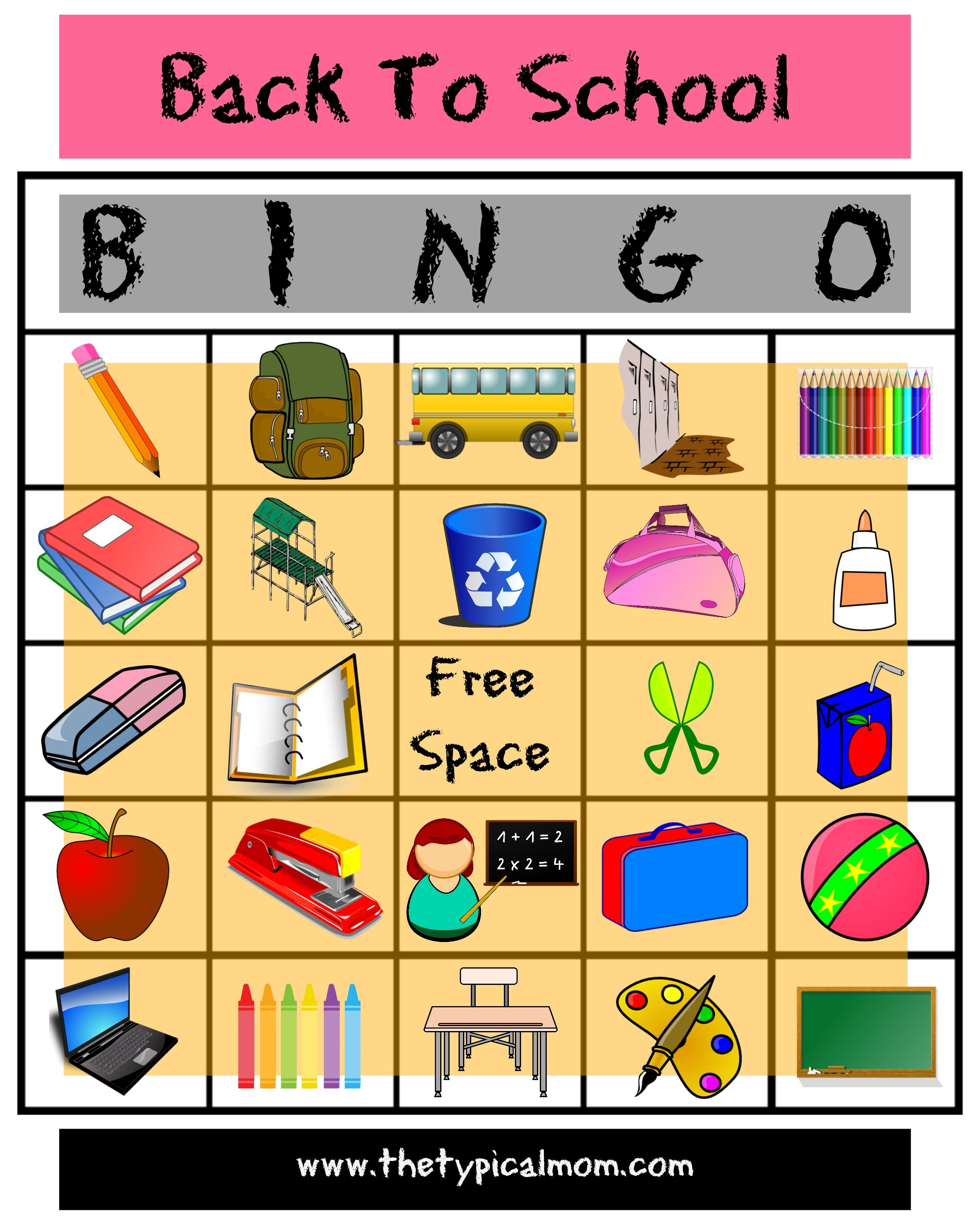 School Classroom Decor Games ~ Here s is an awesome free printable back to school bingo