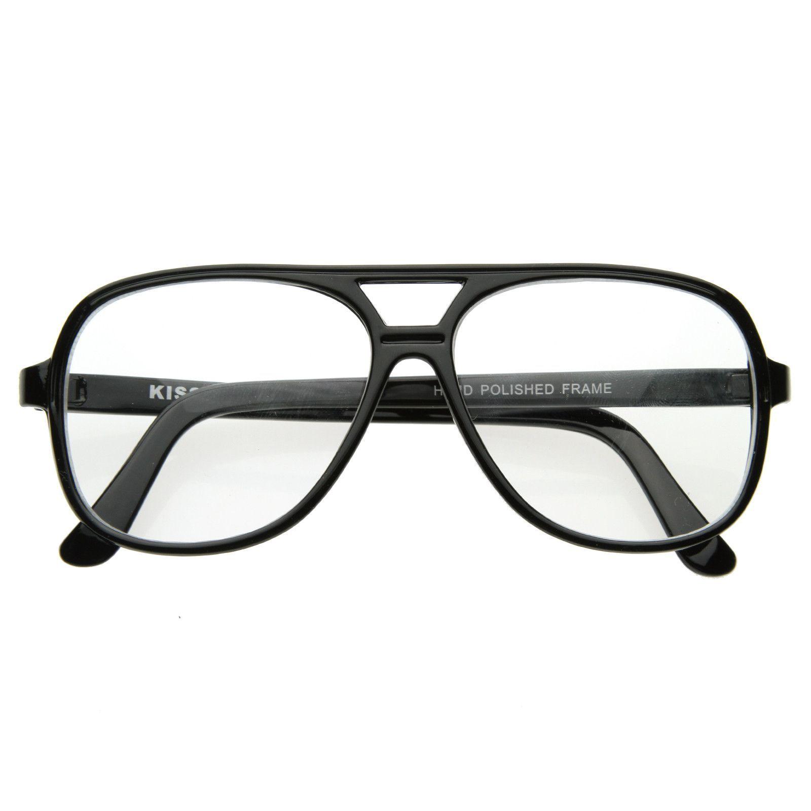 Retro 1980's Basic Square Aviator Clear Lens Glasses 8043