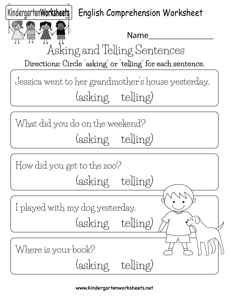 Worksheets Sentence Comprehension Worksheets kids are asked to read each sentence and determine whether it is an english comprehension worksheet free kindergarten for kids