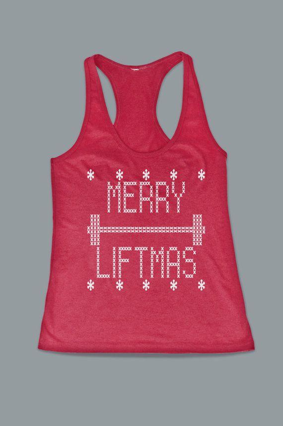 Funny Christmas Tank Tops.Christmas Tank Top Merry Liftmas Funny Christmas Gym Workout Womens