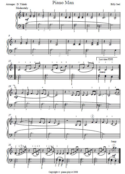 Piano Man Piano Tab Piano Sheet Music And Chord Info In 2018
