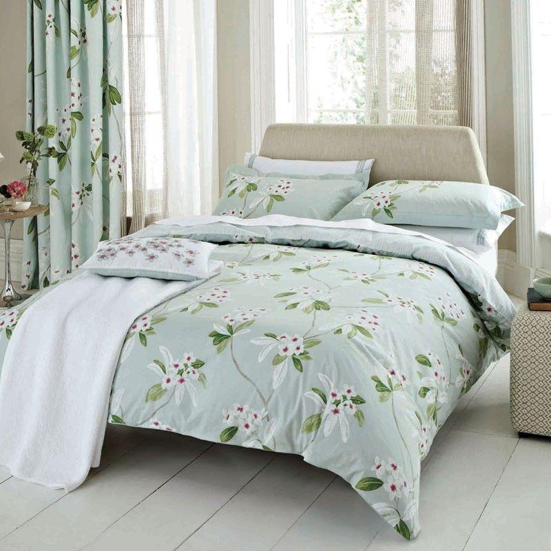 Aqua Floral Bedding | Sanderson Oleander Bed Linen at Bedeck Home ... : sanderson quilt cover - Adamdwight.com