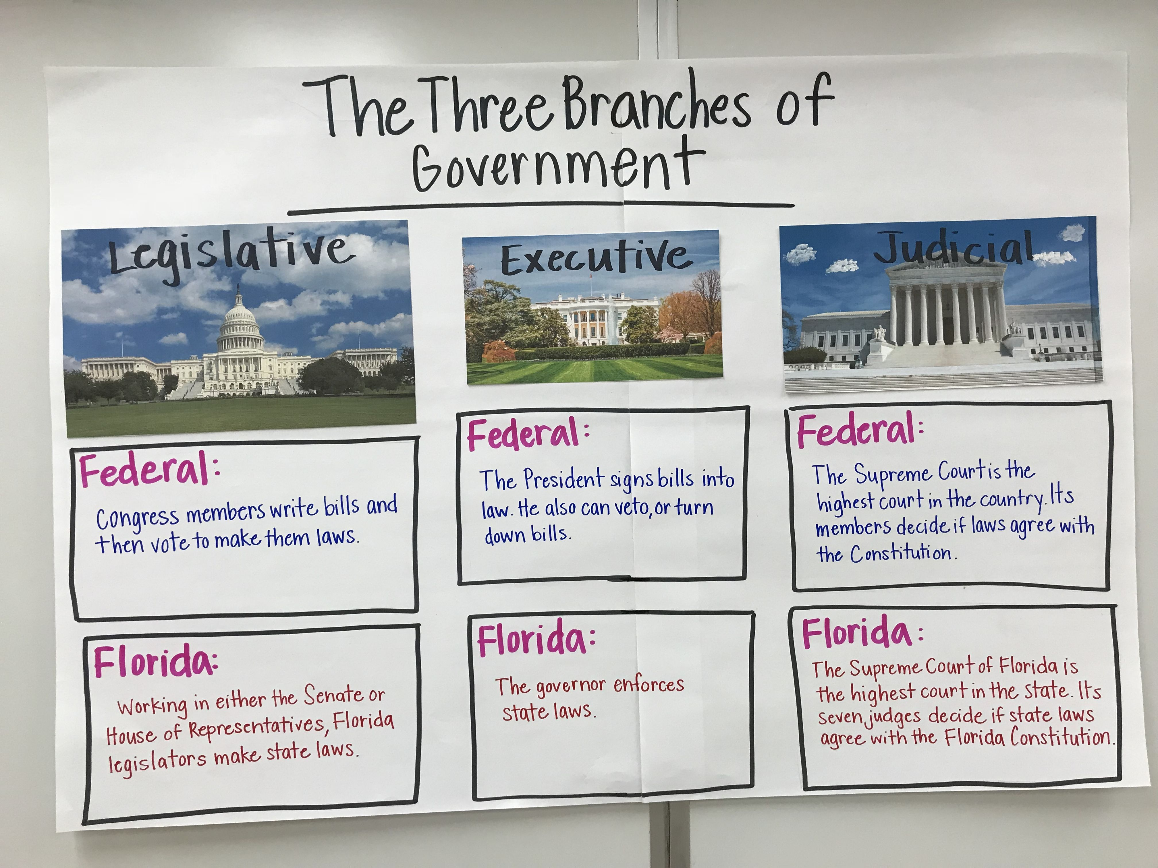 3 Branches Of Government Anchor Chart For My 4th Grade