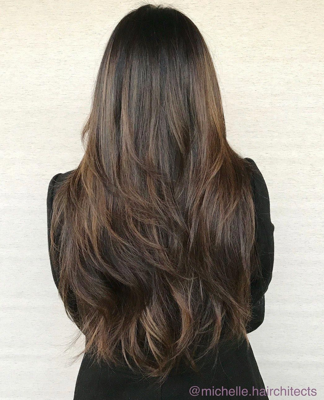 Waist Length Brunette Hair With Textured Layers Haircutsforlonghair Long Brunette Hair Long Thin Hair Long Hair Styles
