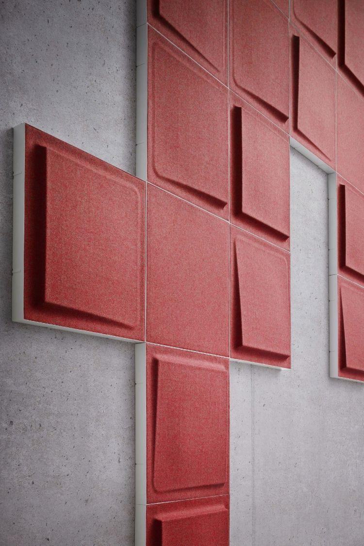 panneau acoustique d coratif carr s rouges en 3d fono par gaber acoustique panneaux. Black Bedroom Furniture Sets. Home Design Ideas