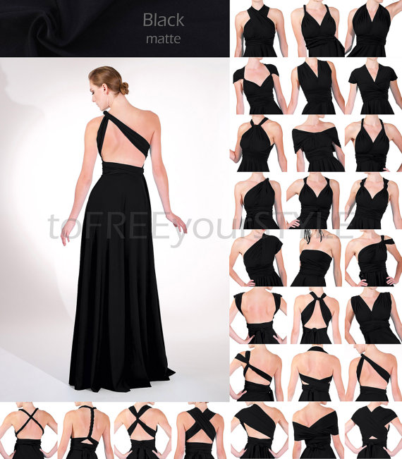 Long infinity dress in BLACK matte, FULL Free-Style Dress, long ...