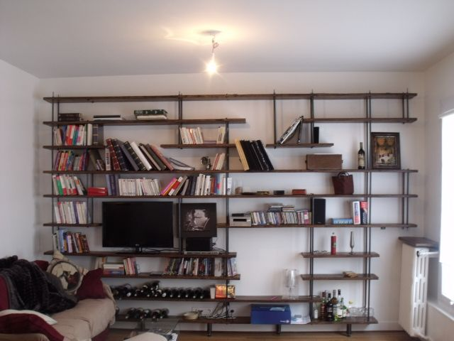 metal et bois 2 michel design bibliotheque pinterest bois metal bibliotheque sur mesure. Black Bedroom Furniture Sets. Home Design Ideas