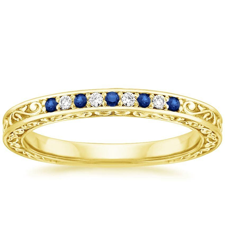 18K Yellow Gold Delicate Antique Scroll Sapphire and Diamond Ring from Brilliant Earth