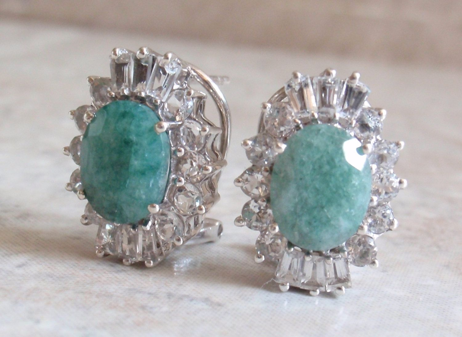 Sterling Emerald Earrings Colorless Topaz Accents Omega Clips Vintage  Cw0272 By Cutterstone On Etsy