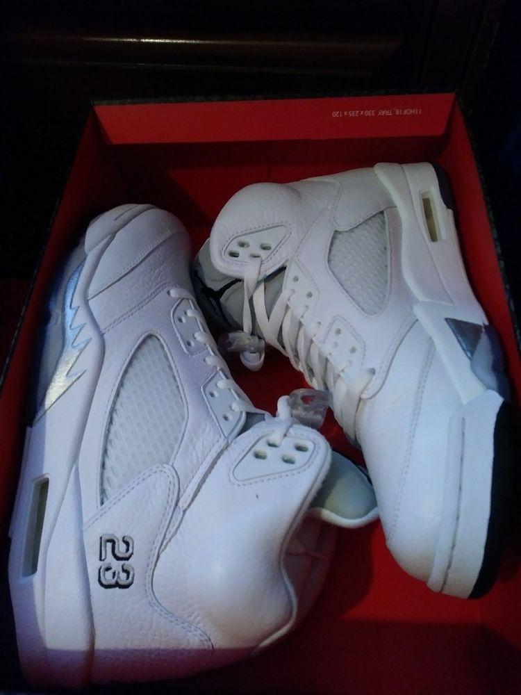 info for a6d76 1685a DS Nike Retro Air Jordan 5 White Metallic Silver SIZE 9 136027 130 Rare!