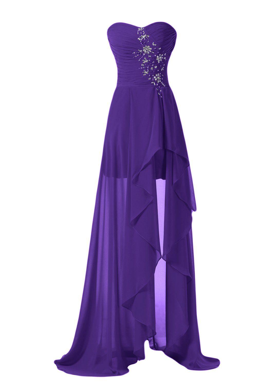 Sunvary high low strapless chiffon bridesmaid evening dresses prom