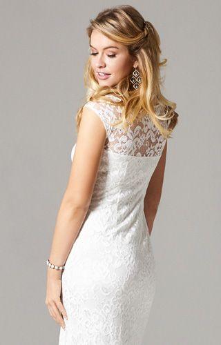 Amber Kleid lang (Elfenbein)   Wedding styles, Lace wedding dresses ...