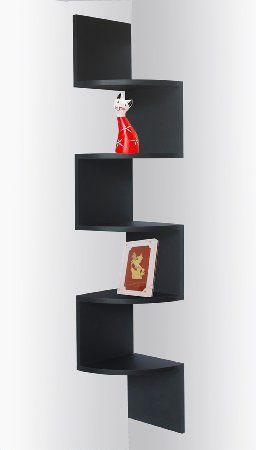 Black Finish Corner Zig Zag Wall Shelf Home Interior Ideas Corner Shelves Ikea Floating Shelves Wall Shelves