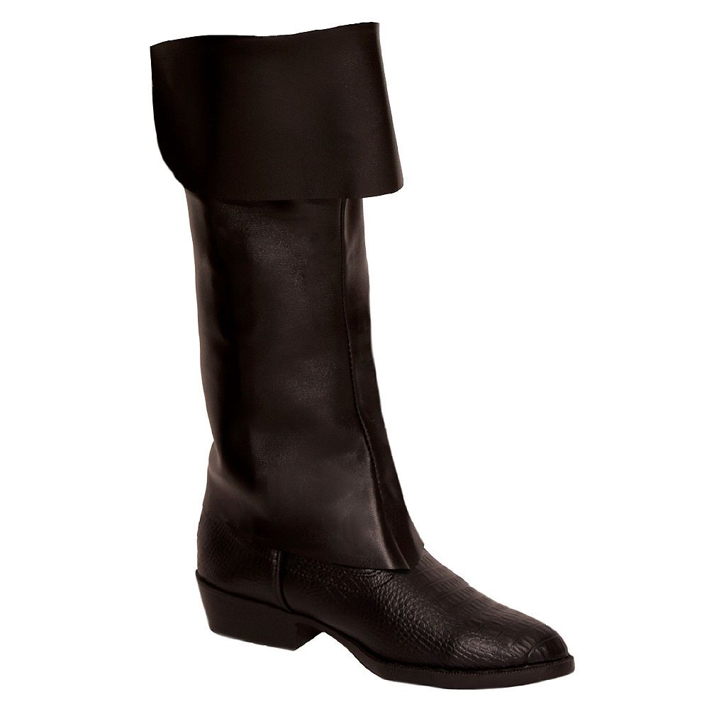Child/'s Black Simulated Leather Pirate Costume Boot Tops