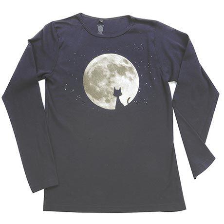 Moon Cat Long-Sleeve Women's T-Shirt - 100% Organic Cotton, Made in USA
