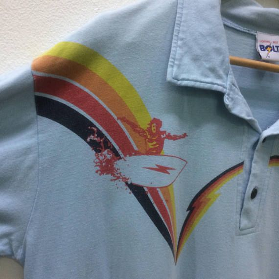 edfd9041c Vintage 70s Lightning Bolt Surf Polo Shirt Surfing Rainbow | 70s ...