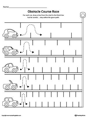line tracing obstacle course race worksheet obstacle course races tracing worksheets and. Black Bedroom Furniture Sets. Home Design Ideas