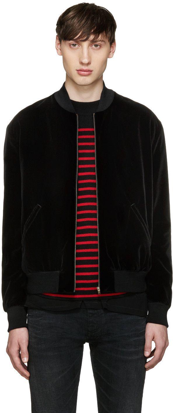 9b2d7e54d63 SAINT LAURENT Black Studded Velvet Bomber Jacket. #saintlaurent #cloth # jacket