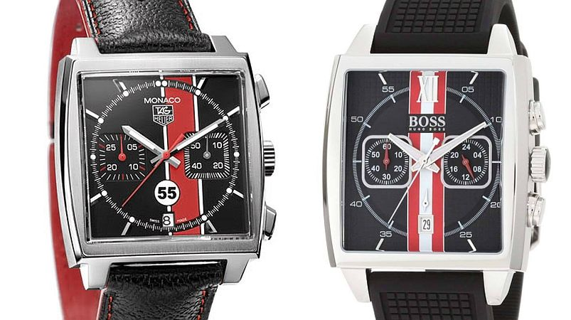 63e056db6 Tag Heuer Monaco (Porche Club of America special edition) vs Hugo Boss  Chrono. Not an exact match but obvious design cues borrowed.