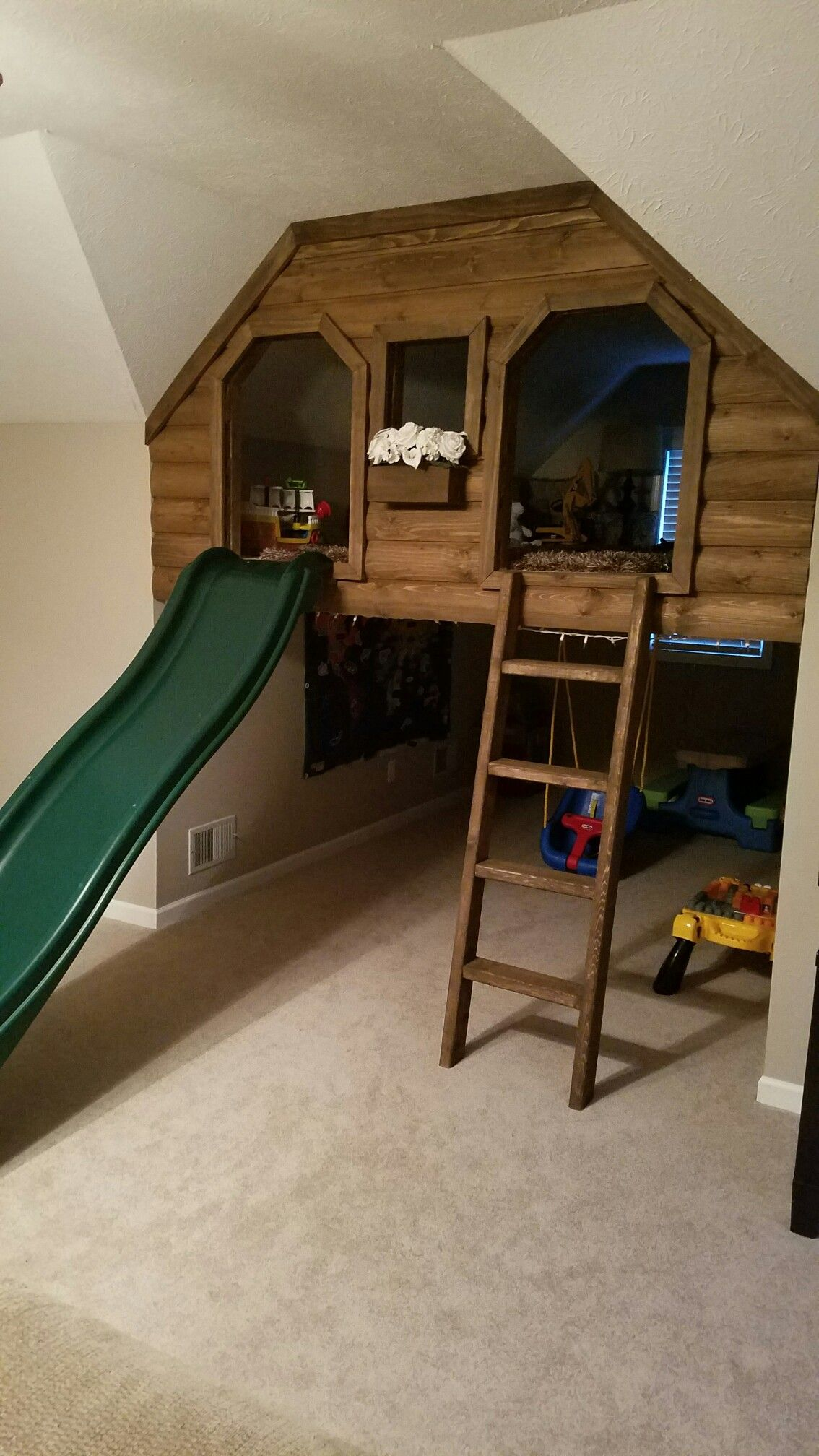 Indoor Kids Log Cabin Playhouse With Slide Indoor Kids Log Cabin