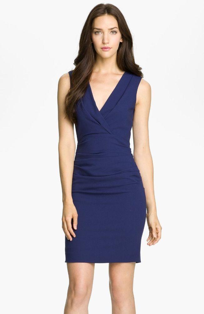 171778a4f4  228 BCBG MaxAzria Blue Depth Alysse Ruched Vneck Sheath Dress 2 NWT B584   BCBGMAXAZRIA  Sheath  Cocktail