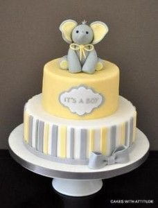 Yellow Grey White Elephant Cake Baby Shower Elephant Baby Shower
