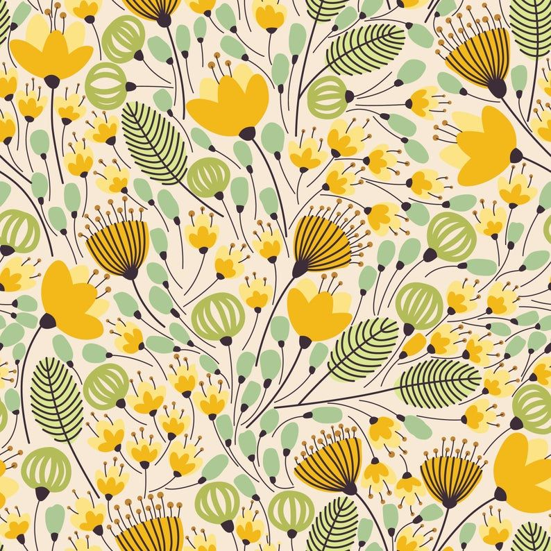 Removable Wallpaper Self Adhesive Wallpaper Yellow Flowers Etsy Watercolor Pattern Yellow Flowers Pattern Illustration