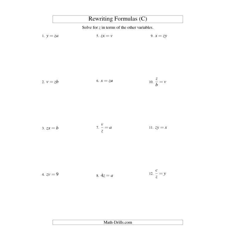 Algebra Worksheet -- Rewriting Formulas -- One-Step