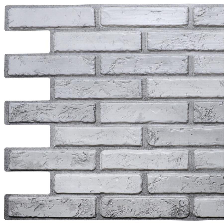 Dundee Deco Falkirk 3d Retro Off White Grey Wall Panel Lowes Com Brick Wall Paneling Pvc Wall Panels Fake Brick Wall