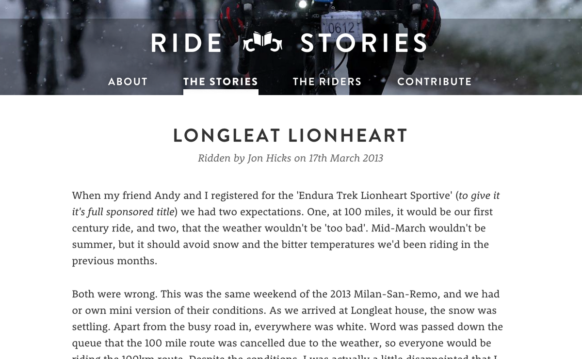 Typography sample: Brandon Grotesque with Rooney on ridestori.es (posted by @mikesten) #typography #webfonts #like #blog #photo #fitness #health #bikes #diary #exercise. Lots more info at http://typ.io/s/c6c3.
