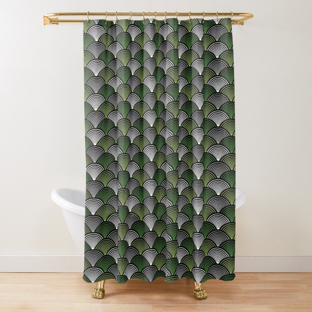 Art Deco Fans Green Shower Curtain In 2020 Art Deco Curtains
