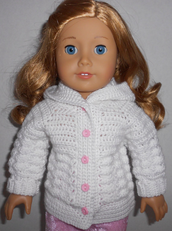 CROCHET PATTERN - PDF - Shell Stitch hooded sweater to fit 18\