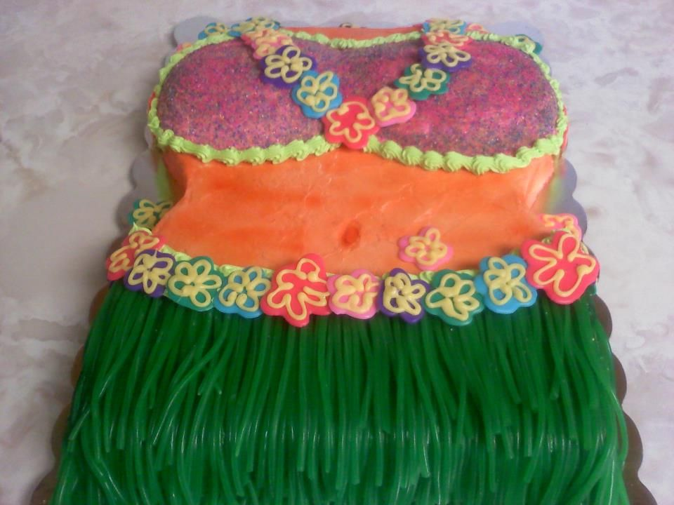 This needs to go along with the Pineapple Centerpiece for a party......Hula Girl Cake by Think Sweet! Cakes by Trisha
