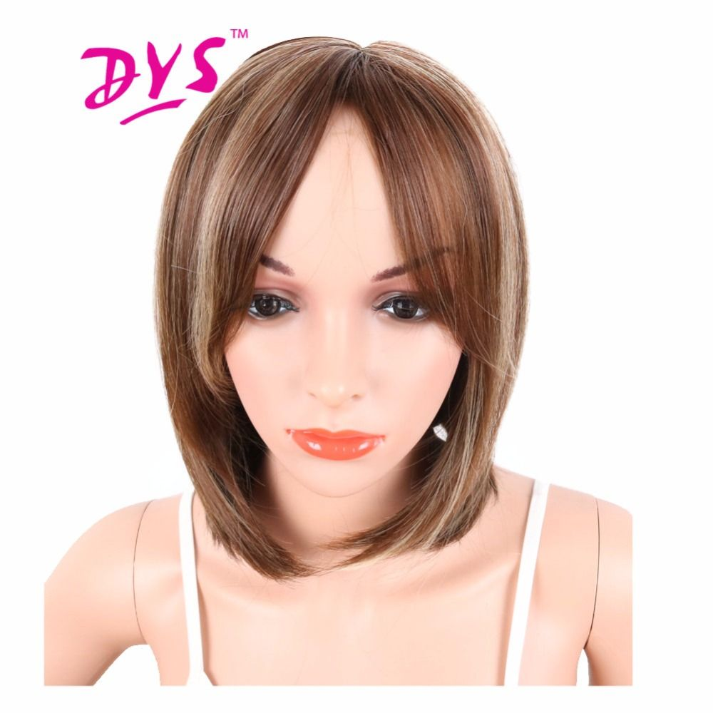 Deyngs short women wigs brown mix blonde color heat resistant