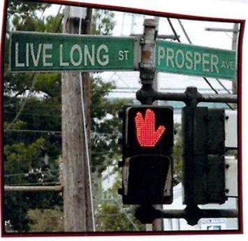 Street signs in Vulcan, Alberta, Canada.
