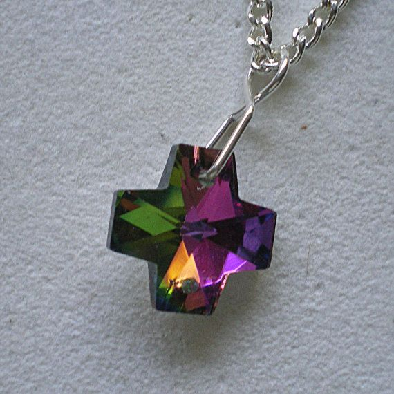 Multi Coloured Faceted  Glass Cross with approx 16 in by greanbea, $7.70