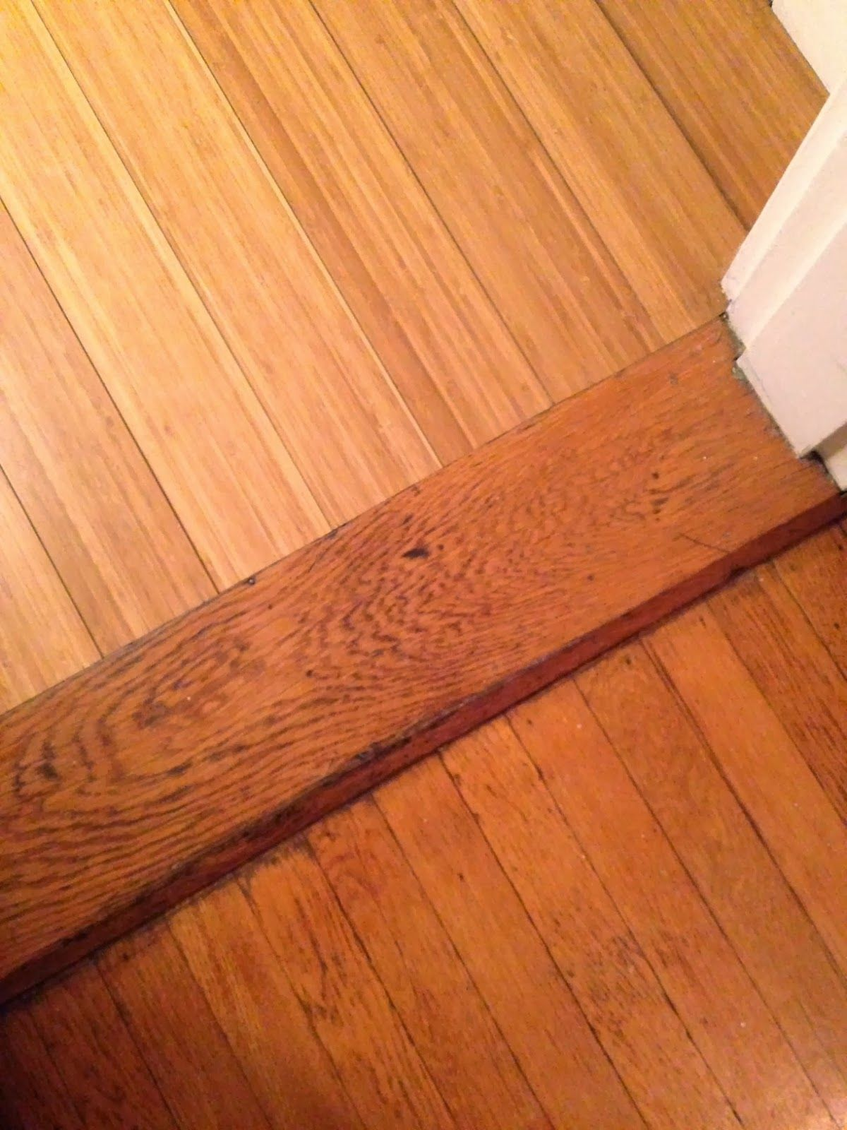 Have You Ever Seen A Pretty Transition Between Two Distinctly Different Hardwood Floors I Living Room Hardwood Floors Wood Floors Wide Plank Old Wood Floors