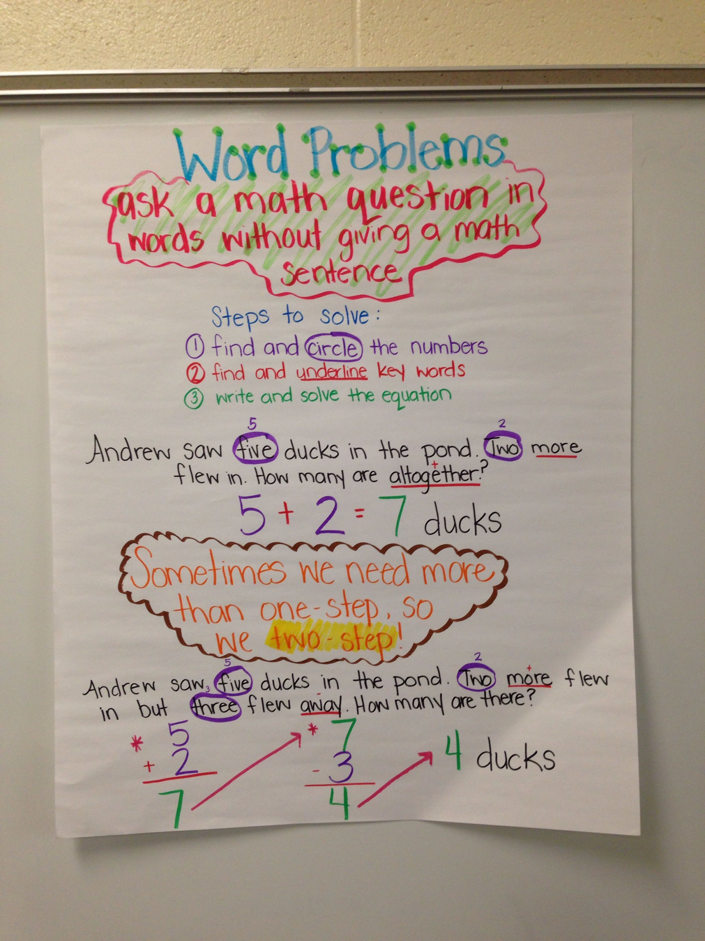 Word Problems One And Two Step